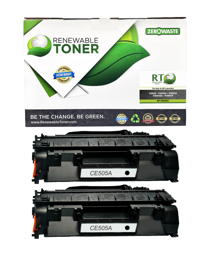 RT 05A CE505A Compatible Toner Cartridge (2-Pack)