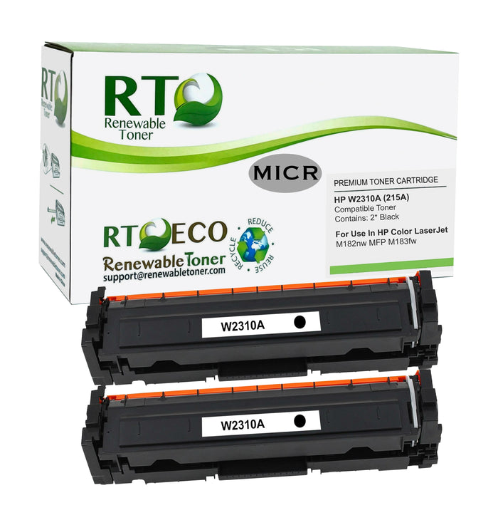 RT Compatible HP W2310A 215A MICR Toner Cartridge (No Chip, 2-Pack)