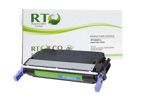 Renewable Toner Compatible Toner Cartridge Replacement for HP 643A Q5951A Color LaserJet 4700 (Cyan)