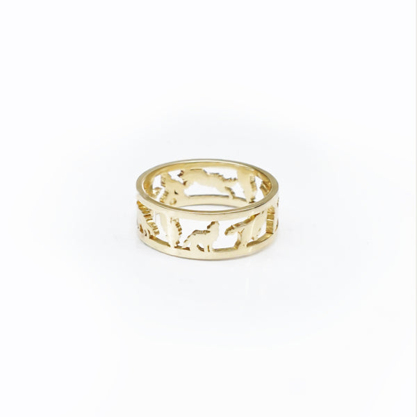 Custom Arctic Wolf Pack Ring - Gold