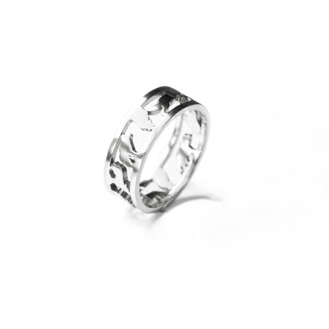 Custom Arctic Wolf Pack Ring - Silver