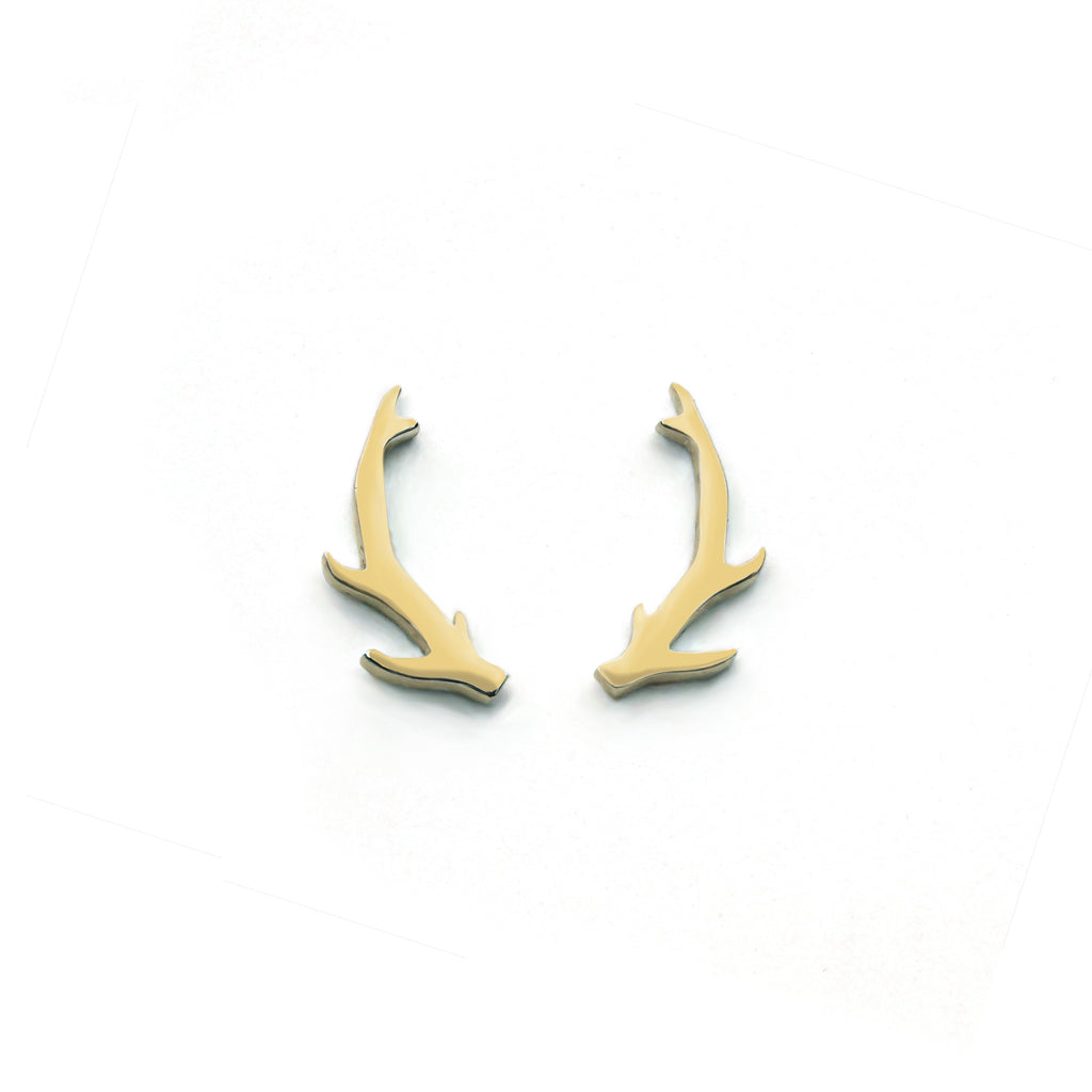 58c157209 Deer Antler Earrings - 14ct Gold & Sterling Silver | Of The Free