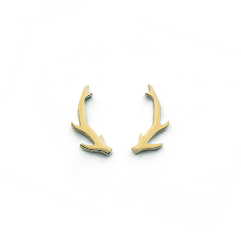 Deer Antler Earrings - Gold