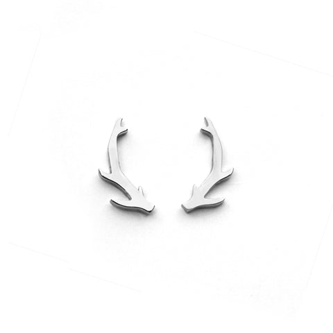 Deer Antler Earrings - Silver