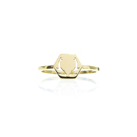 Deer Antler Ring - Gold