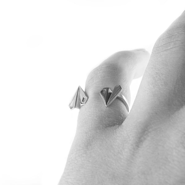 Skybound Paper Plane Ring - Silver