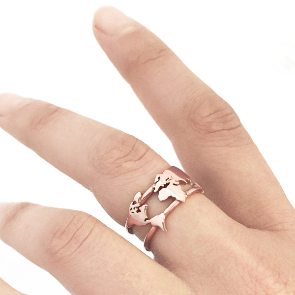 World Map Ring - Rose Gold