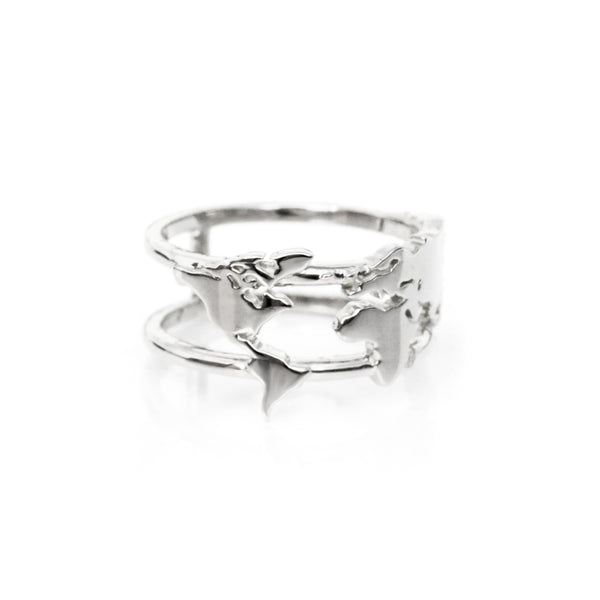 World Map Ring - White Gold