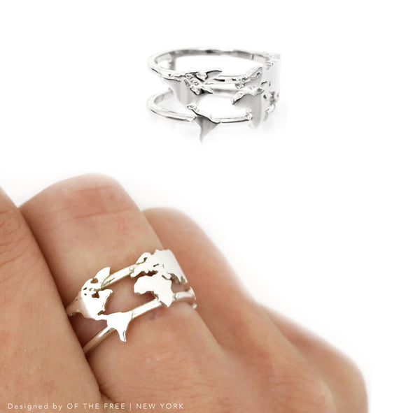 World Map Ring - Silver