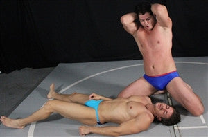 Lupe flexes and poses of Zman for muscle worship after dominating him in Thunders Arena
