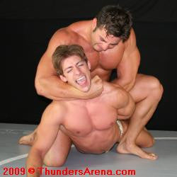 Frank the Tank with a camel clutch chokehold to Zman in Thunders Arena