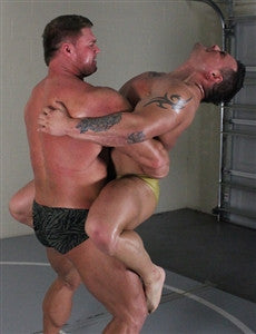 johnny bravo specimen bearhug submission hold submit lift and carry