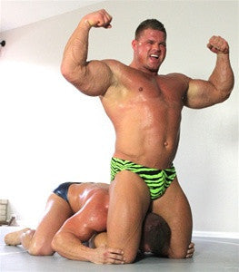 Johnny Bravo Muscles headscissors flex submission submit muscle worship double biceps