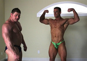 Johnny Bravo Coupe bodybuilders flex and pose arms abs biceps chest pecs muscle worship