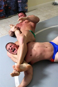 Johnny Bravo Dominic bodyscissors armbar arm submission hold submit torture pain agony