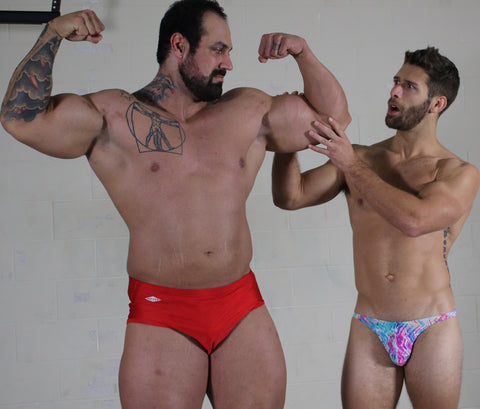 wrestler muscle worshiping body builder