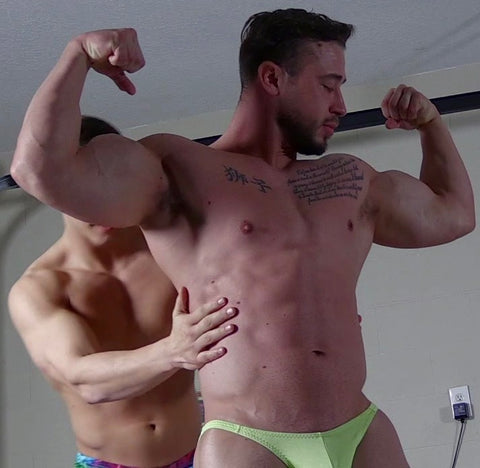body builders muscle worship each other