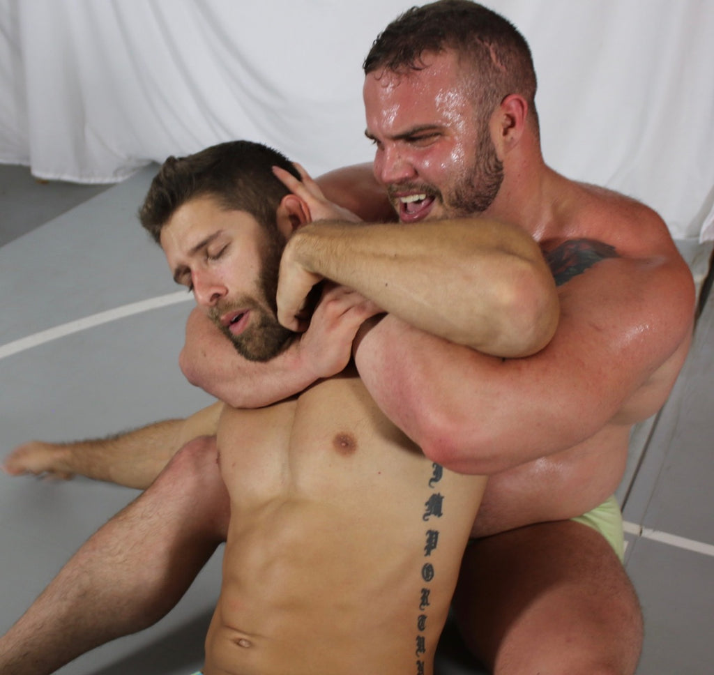 Thunders wrestling Sleeper hold choking muscles hot guys with facial hair