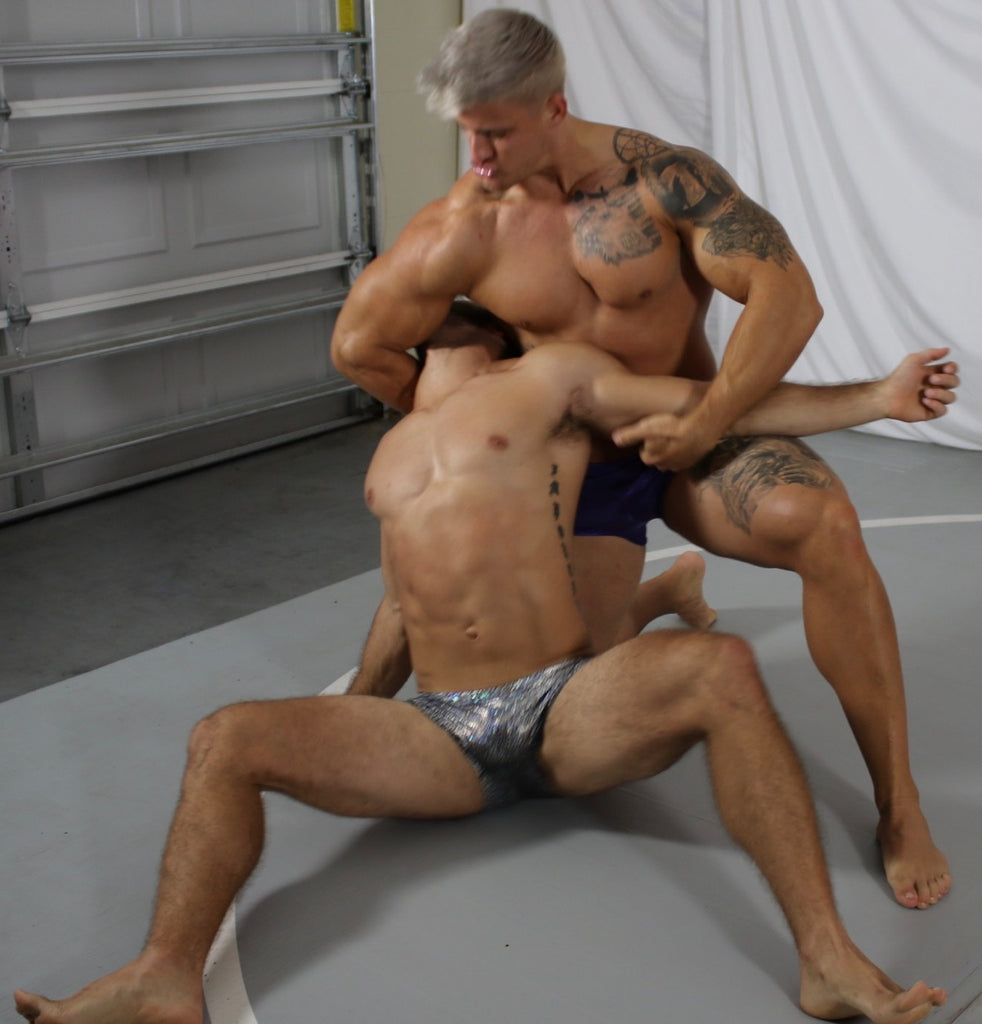 choke hold mat wrestling no holds barred flexing pecs biceps abs choking sexy legs spread eagle