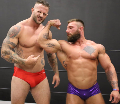 Mack and Tank flex and pose on thunders arena wrestling