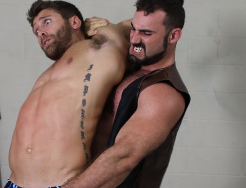 Rex stretches Blaynes Abs at Thunders Arena Wrestling