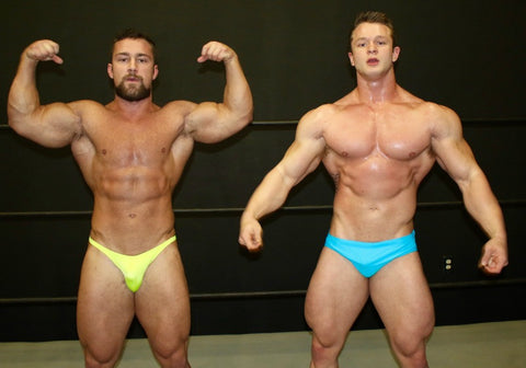 Massive bodybuilders Dolf and Steel flex and pose in Thunders Arena