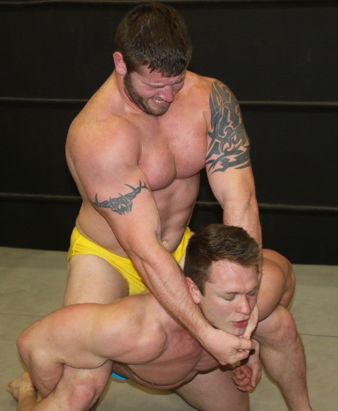 Beast locks in a camel clutch on Steel at Thunders Arena