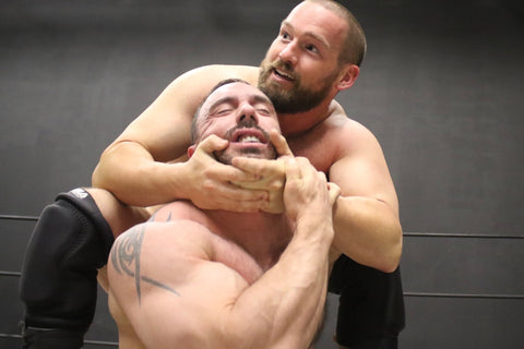 Joey King puts CJS into a camel clutch at Thunders Arena Wrestling