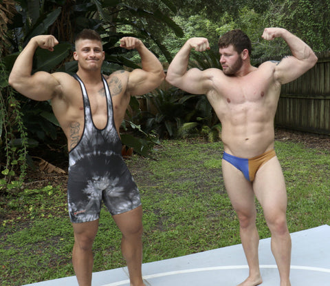 Eagle and Beast flex pose arms biceps abs chest muscle worship