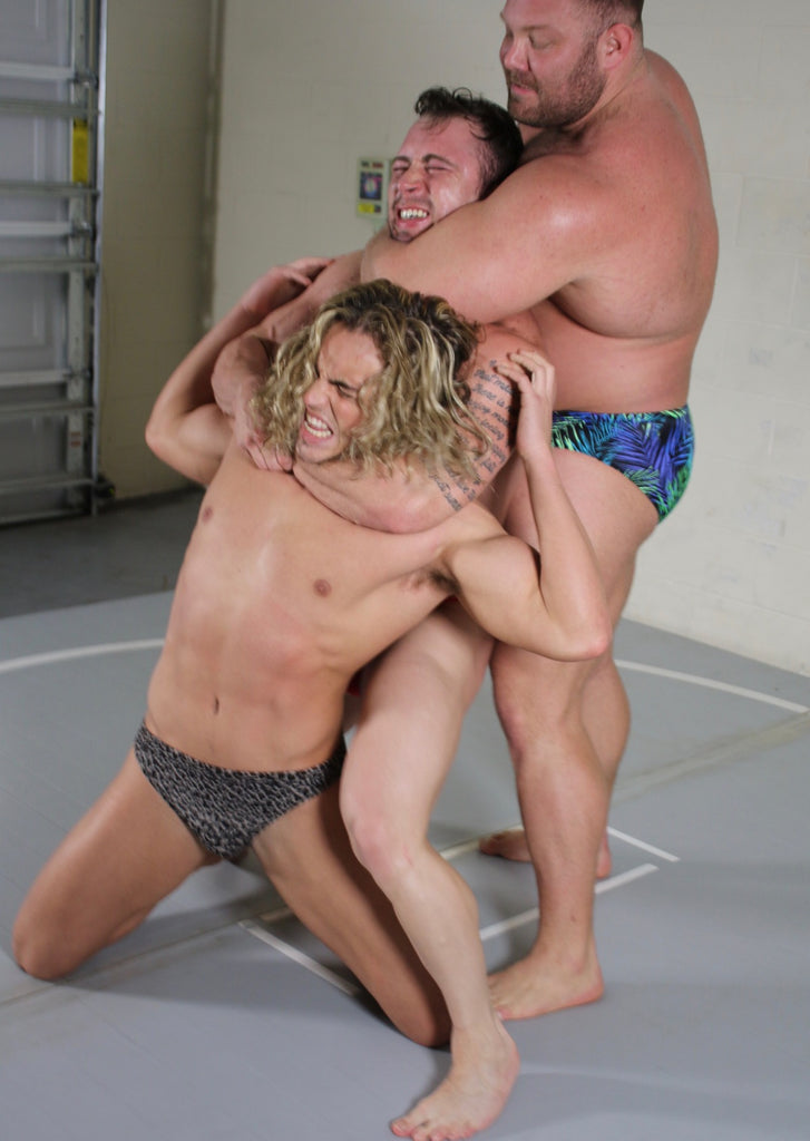 body builder dominating wrestlers