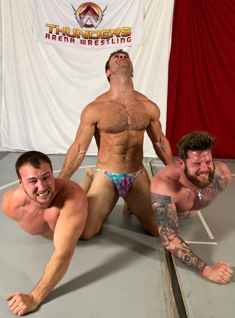 Blayne puts Viking and Frey into a chicken wing at the same time at Thunders Arena Wrestling