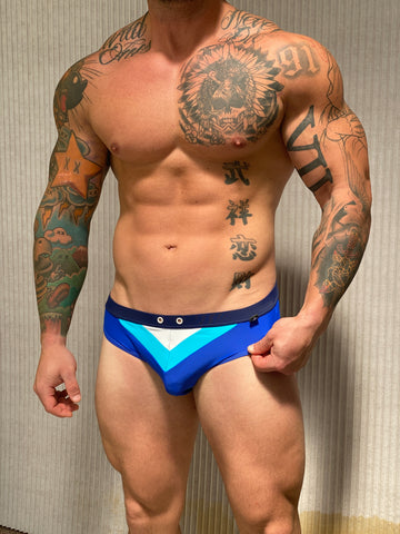 Blue/Teal/White Briefs Pattern - Size Small