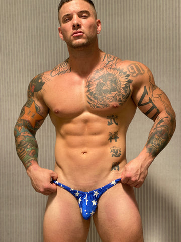 Blue Stars Thong  - Size Small