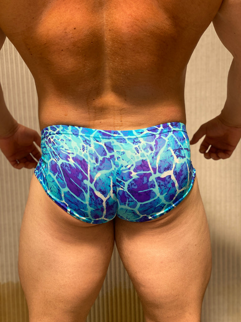 Blue/White/Teal Water Pattern Briefs - Size Large
