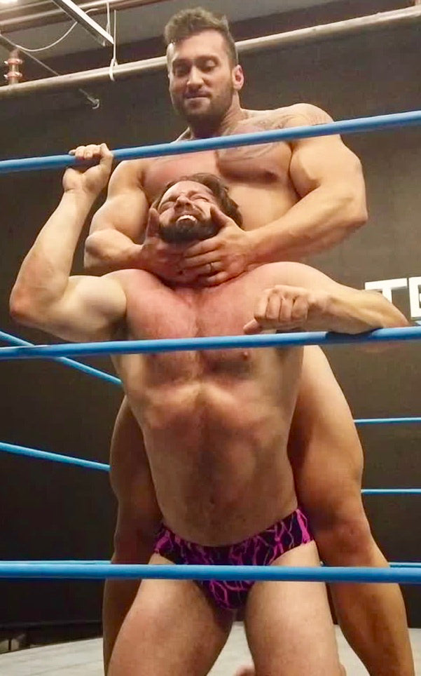 Stallion chokes Joey King at Thunders Arena Wrestling.