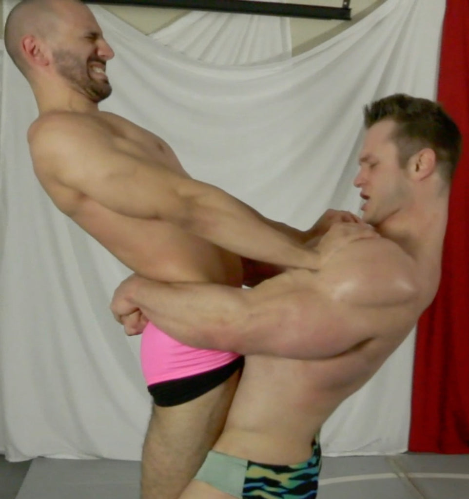 wrestlers muscle worship each other