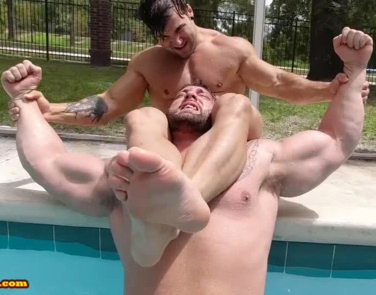 Head Scissor on pool deck