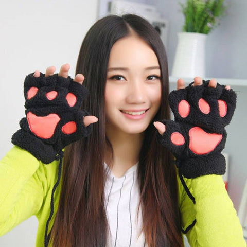 Cat Paws Plush Fingerless Gloves