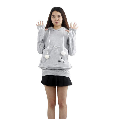 Paw Print Hoodie with Pet Pouch