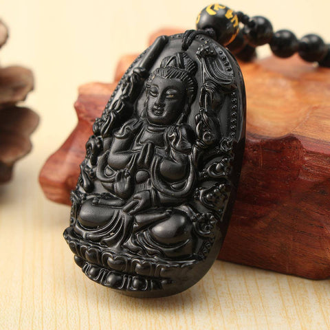 Carved Black Obsidian Buddha Pendant With Beads