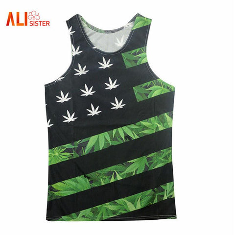 Weed Country Flag Printed Tank Top