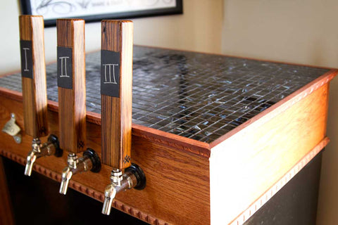Keezer with What's on Draft Zebra Wood Tap Handles