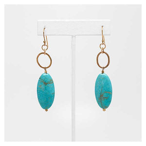 Oval Turquoise Stones on Gold