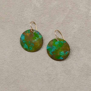 Green Patina Disk Earrings