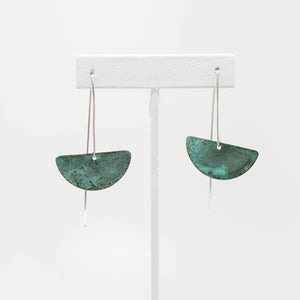 Verdigris Patina Half Moons on Marquise Earrings