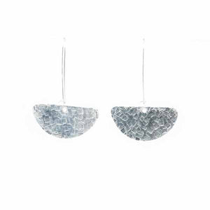 Hammered Silver Half Moon Kidney Wire Earrings