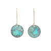 Mottled Turquoise Patina Disc Earrings