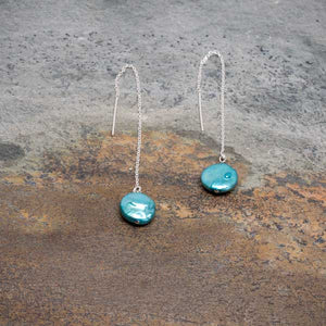 Turquoise Pearl Threader Earrings