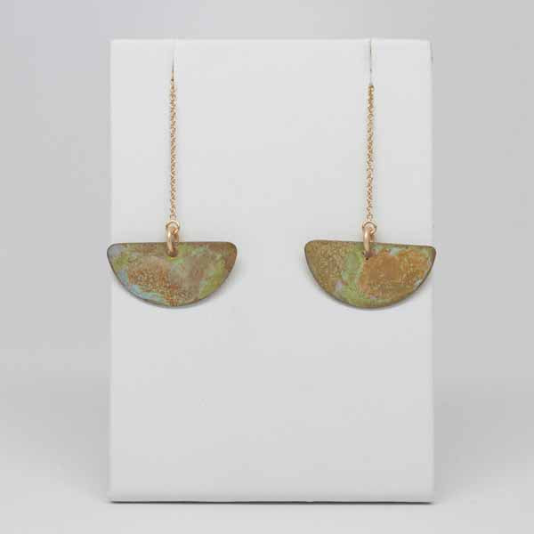 Lime & Rust Patina Crescent Earrrings