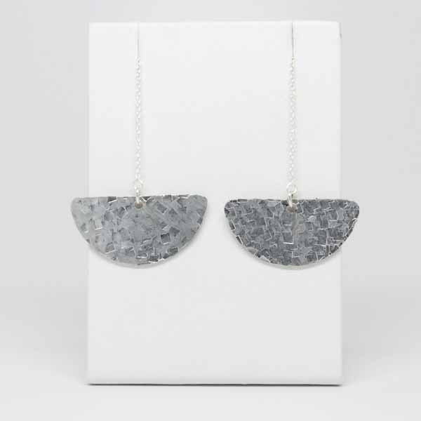 Hammered Silver Crescent Threader Earrings
